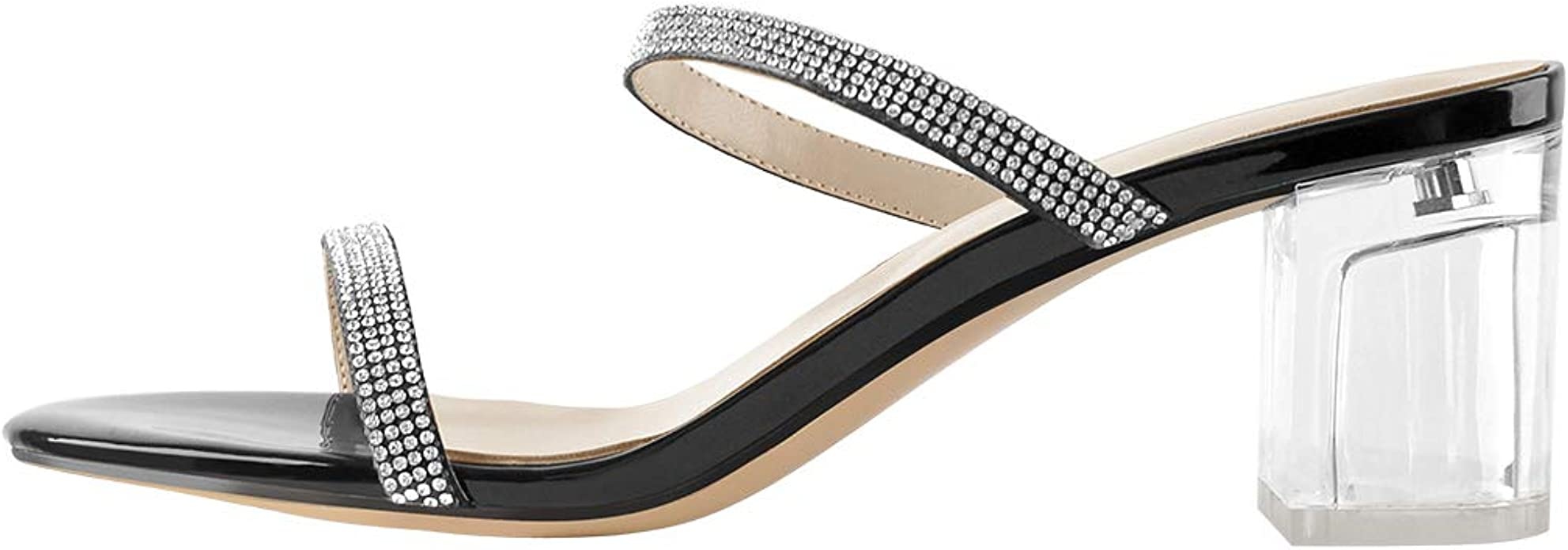 Details about  /Women/'s Open Toe Hollow out Sandals Block Mid Heel Rhinestones Dress Party Shoes