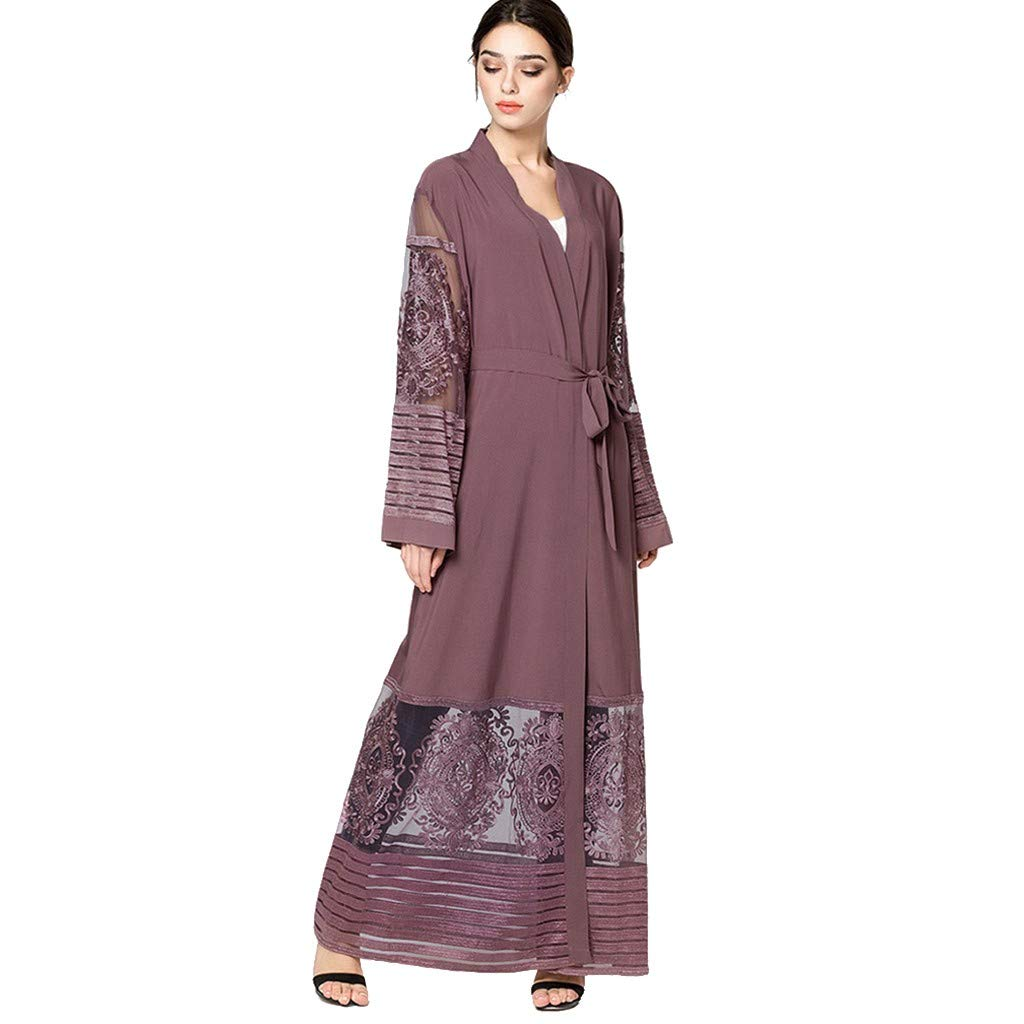 TTINAF Clothes Set Women Muslim Robes, Mesh Panel Embroidered Long Sleeve Cardigan Islamic Open Kaftan Maxi Dress with Belt (Medium, Purple) by TTINAF Clothes Set