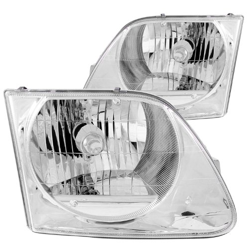 F150 Crystal Headlights (Anzo USA 111030 Ford F-150 Crystal Chrome Headlight Assembly - (Sold in Pairs))