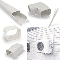 Jeacent 4 W 14Ft Line Set Cover Kit -Decorative Tubing Cover for Mini Split and Central Air Conditioner &Heat Pump