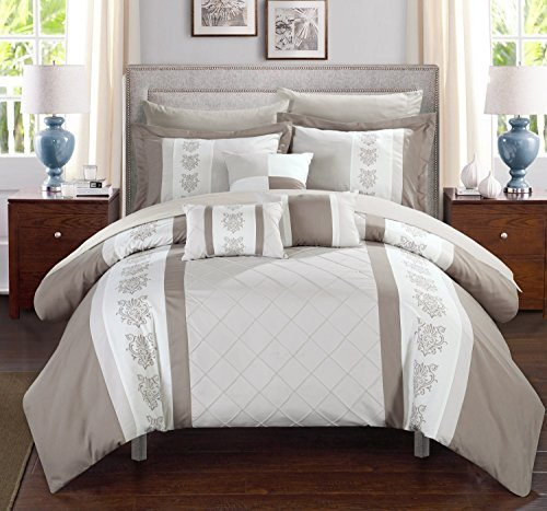 Chic Home Clayton 10 Piece Comforter Set Pintuck Pieced Block Embroidery Bed in a Bag with Sheet Set, King Beige ()