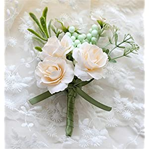 MOJUN Groom Flowers Rose Boutonniere Corsage Brooch Wedding Rose Boutonniere, Pack of 2, Cream 87