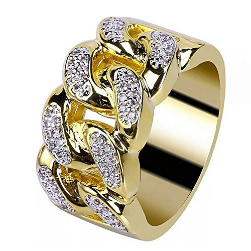 ManxiVoo Wide Band Cuban Link Chain Ring for Men and Women Wedding Engagement Bands Rings Jewelry (Gold, 9)