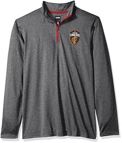 Nba Mens Cleveland Cavaliers Quarter Zip Pullover Shirt Long Sleeve Tee  Large  Gray