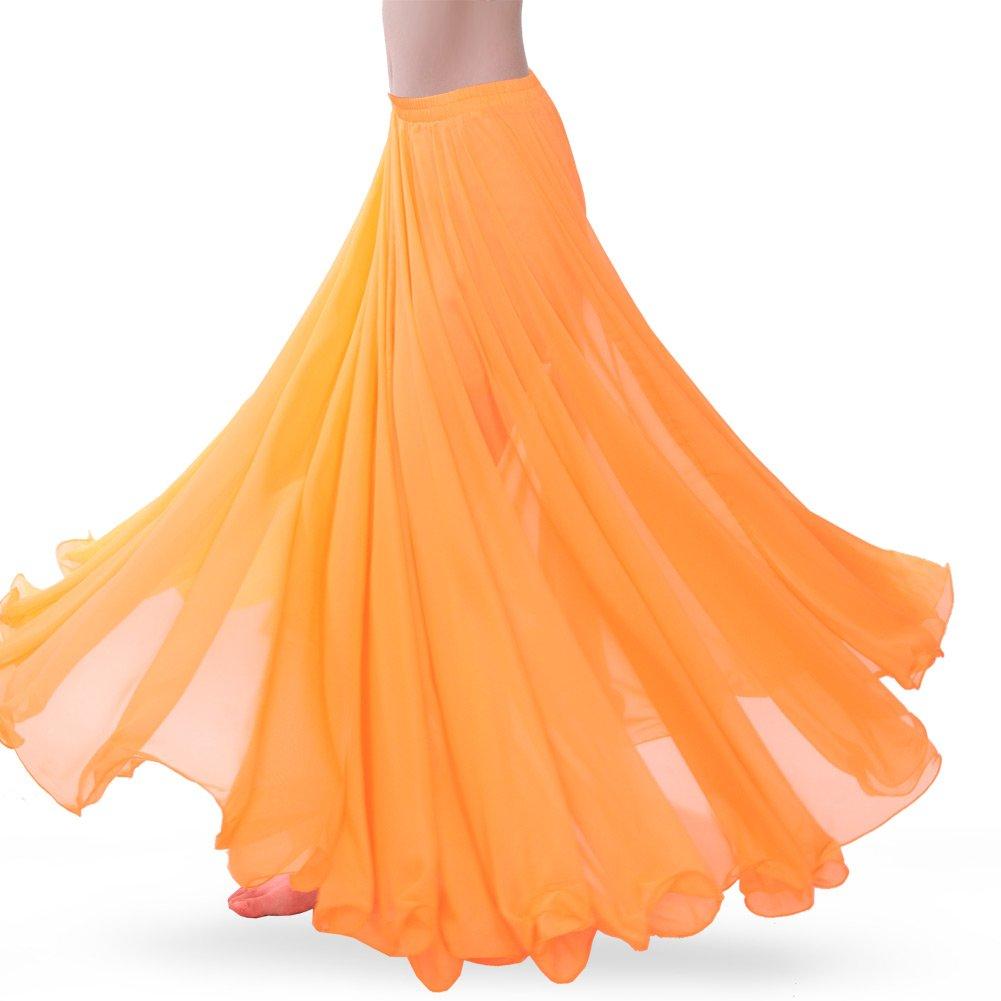 ROYAL SMEELA Women's Belly Dance Skirt ATS Voile Maxi Full Tribal Bellydance Chiffon Skirt, Orange, One Size by ROYAL SMEELA