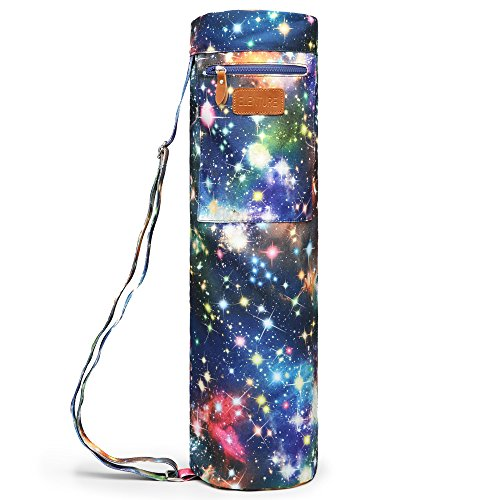ELENTURE Full-Zip Exercise Yoga Mat Carry Bag with Multi-Functional Storage Pockets (Starry sky)