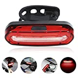 GreenClick COB Waterproof IPX6 Powerful 120 Lumens Rechargeable USB LED Bike Rear Lights Red and Blue