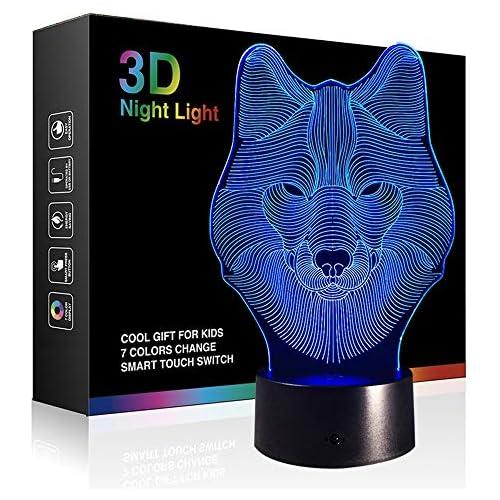 chollos oferta descuentos barato 3d ilusión óptica Control táctil luz de noche 7 Cambio de color lámparas de escritorio
