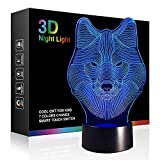 Tiscen 3D Illusion Night Light, LED Table Desk Lamps, Dinosaur Horse Wolf Nightlights, 7 Colors USB Charge Lighting Home Decoration for Kids Bedroom