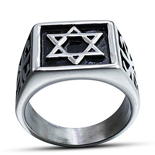 Jewish Star Of David Engraving - JAJAFOOK Mens Stainless Steel Metal Ring with Engraving Hexagram Six-Pointed Jewish Star of David Inlay