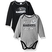 Gerber Childrenswear NFL Oakland Raiders Boys Long Sleeve Bodysuit (2 Pack), 0-3 Months, Black