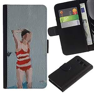 JackGot ( Bañador Mujer Arte Pintura Roja ) Samsung Galaxy S3 III i9300 i747 la tarjeta de Crédito Slots PU Funda de cuero Monedero caso cubierta de piel