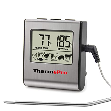 ThermoPro TP-16 Digital Cooking Food Meat Thermometer for Smoker Oven Kitchen Candy BBQ Grill Thermometer Clock Timer with Stainless Steel Temperature ...
