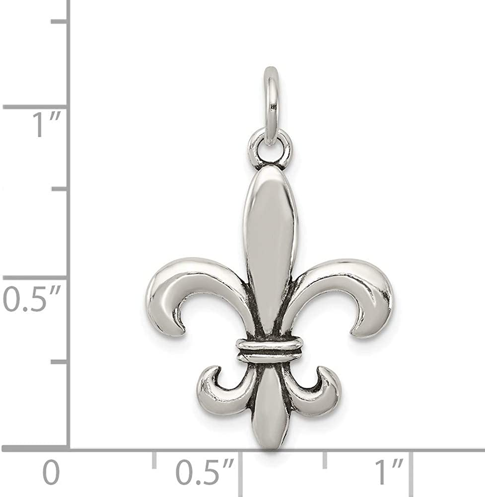 925 Sterling Silver Motorcycle 3-D Polished Charm Pendant 18mm x 21mm