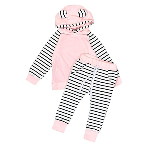 Price comparison product image GBSELL 2pcs Newborn Infant Baby Boy Girls Clothes Lovely Hooded T-shirt Tops + Pants Outfits Set (Pink, 18-24 Month)