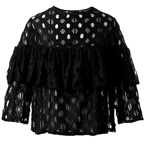 BLDO Women's Summer Loose Ruffles Lace Blouse Shirt Tops