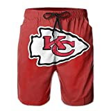 RongerSNAB Kansas_City_Chiefs_Classic_Team_Logo_Man's_Swim_Trunks_Quick_Dry_Water_Beach_Cargo_Water_Shorts_with_Mesh_Lining