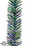 25FT Mardi Gras Tinsel Garland Mardi Gras Tinsel Garland 3IN Width Green, Purple, and Gold Tinsel Garlands for Parade Floats Indoor/Outdoor Parties Festivities Spring Easter Decorations Home Decor