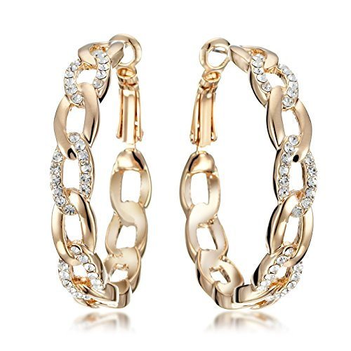 Gemini Womens Jewelry 18K Yellow Gold Filled CZ Diamond Hoop Pierced Earring Valentines Day Gifts Gm039Wg 1.5 inches
