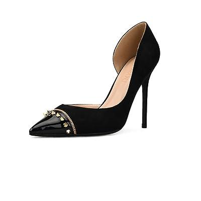 MHSXN Lady Retro Pompes OL Stiletto Pointé Chaussures Mme Confortable Noir Chaussures de Soirée