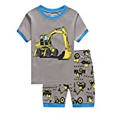 SECRET CHERISH Kids Boys Girls Pyjamas Set Cartoon Home Wear Long Sleeve PJS Cotton Sleepwear 1-7 Years (2-3 Years, 3-Excavator)