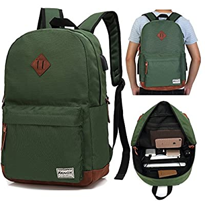 f4241bcbf715 ... Port and Headphone Jack. durable modeling Kenox Vintage College Laptop  Backpack Student School Bookbag Rucksack Travel Daypack With USB Charging