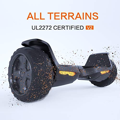 TOMOLOO Hoverboard UL2272 Certified 8.5' All Terrain Wheels Off-Road App Controlled Electric Self Balancing Scooter for Kids and Adults with Bluetooth Speaker and LED Light