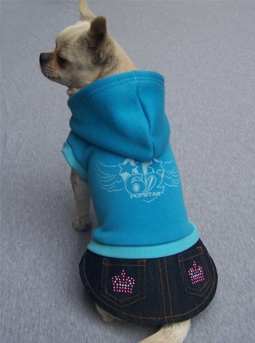 Popstar '62 Fleece Sweatshirt Hoodie with attached Studded Denim Skirt For Small Dogs 6-10 Lbs. Sized S (Chest ()