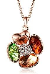 """Four-leaf Clover Swarovski Elements Crystal Rose Gold Plated Pendant Necklace,18""""+2.5"""" Extender"""