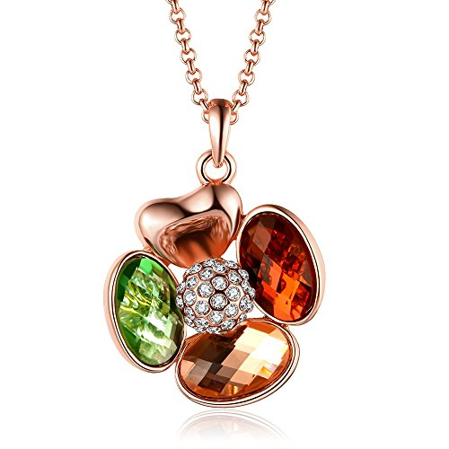 Fashion Quality Pearl and Diamond Accent Pendant Inlay Crystal Necklaces-Guillermo B. Randle (rose-gold-plated-base)