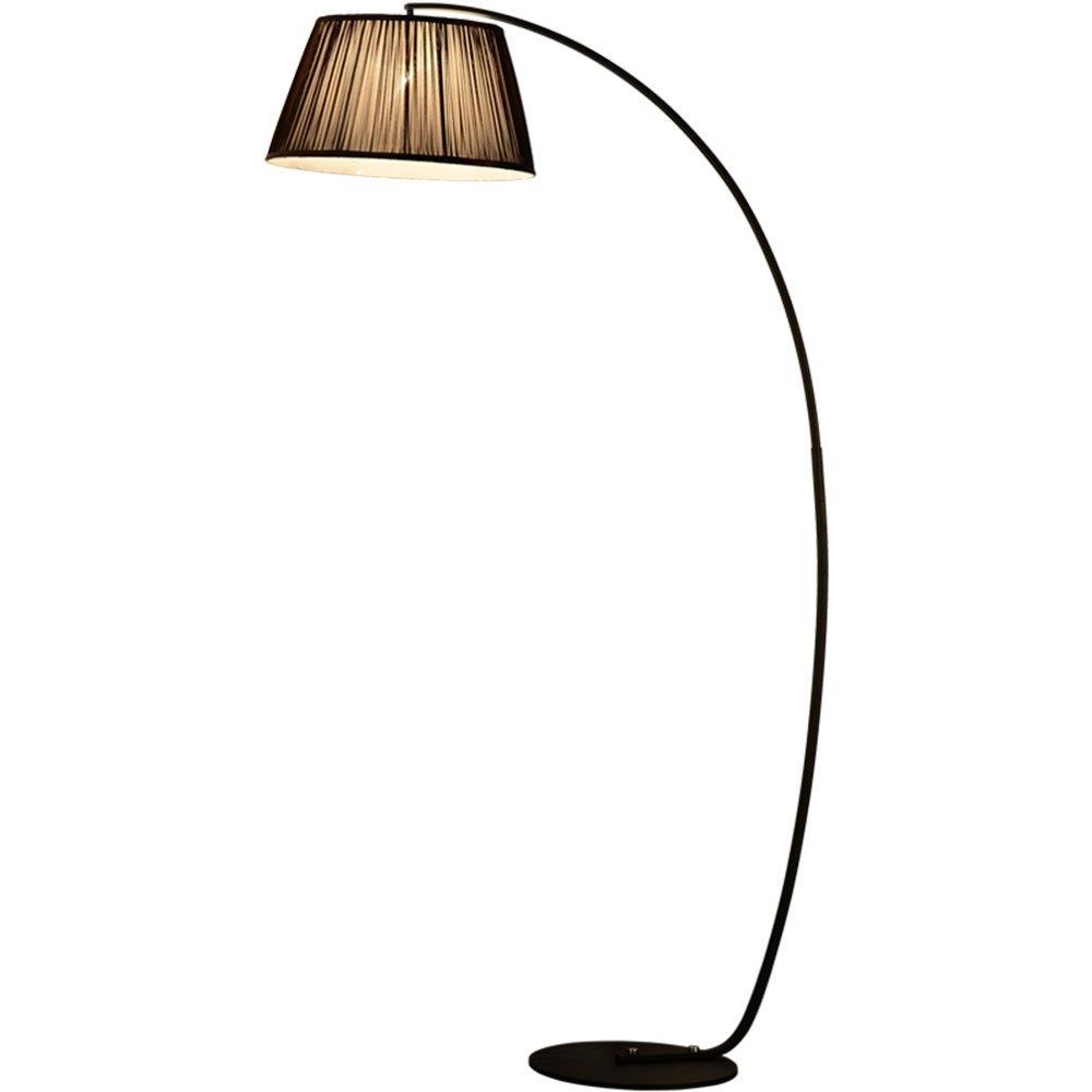 BODENLEUCHTE, Amerikanische landwirtschaftliche Vertikale Beleuchtung Moderne Nordic Stoff Stehlampe Schlafzimmer Wohnzimmer Study Stehlampe Wirkungsgrad: A +++ ( farbe : Schwarz )