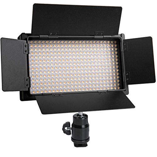 Polaroid 350 Ultra High Powered Super Bright LED Video Light With Variable Color Temp. (3200K-5600K) & Dimmable Brightness Control Knobs With Barn Door With LCD by Polaroid