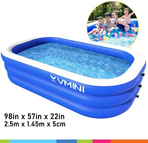 Vmini Inflatable Swimming Pool, 92 X 57 X 22 Full-Sized Swim Center Family Lounge Rectangular Pool, for Ages 3 , Outdoor, Garden, Backyard