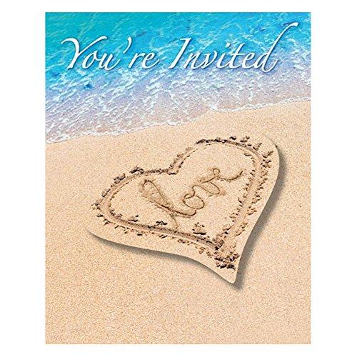 Beach Wedding Party Invitations With Envelopes - 8 Pack - Celebration Envelopes