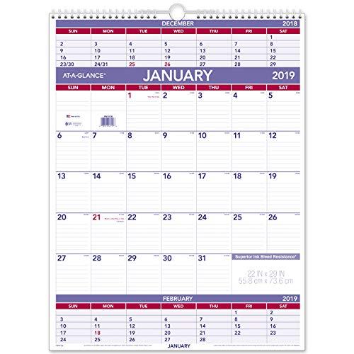 AT-A-GLANCE 2019 Wall Calendar, 22 x 29, XLarge, Wirebound, 3-Month Display (PM1028)