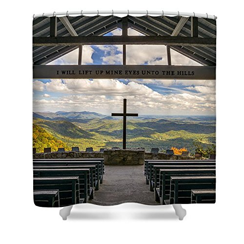Pixels Shower Curtain (74'' x 71'') ''Pretty Place Chapel - Blue Ridge Mountains Sc'' by Pixels