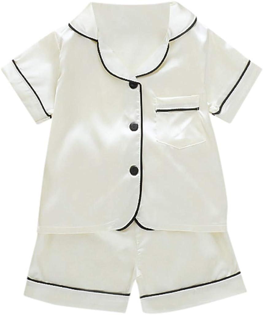 Toddler Baby Girl Satin Silk Pajamas Long-Sleeve Pjs Sleepwear Loungwear Outfit Clothes Set 3-4 Years