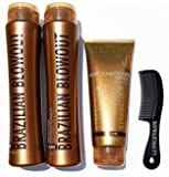 Brazilian Blowout Procare Trio Acai Anti-Frizz Shampoo & Conditioner 12oz bottles and Masque 8oz with FREE shower comb