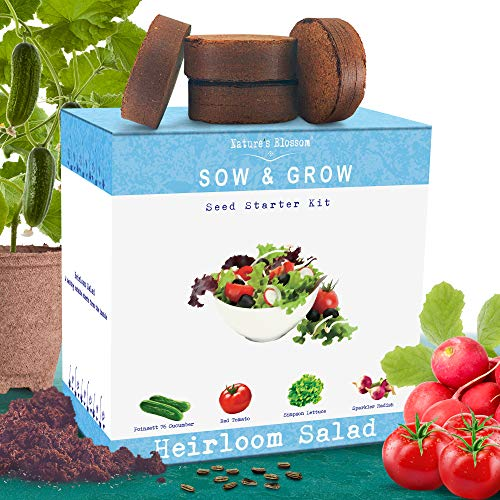 Nature#039s Blossom Heirloom Salad Vegetables Growing Kit Grow 4 Heirloom Vegetables from Organic Seeds Gardening Set Contains Vegetable Seeds Growing Pots Soil Plant Labels and a Gardening Guide