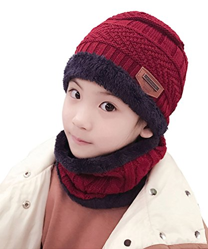 Y.R.Lover Kids Winter Warm Hat Circle Scarf Set Fleece Knitted Slouchy Skull Cap Beanie for Boys Girls