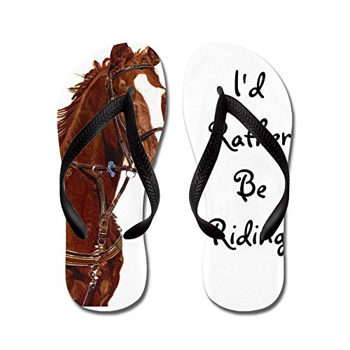 CafePress ID Rather Be Riding! Horse - Flip Flops, Funny Thong Sandals, Beach Sandals Black