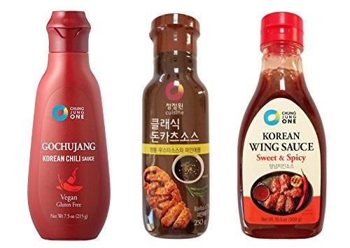 Chung Jung One Premium Korean Sauce / Marinade 3 Pcs Set Chili Gochujang Tube (7.5 oz) + Classic Pork Cutlet Katsu Pineapple (8.81 oz) + Spicy Wing Sauce (10.5 oz)