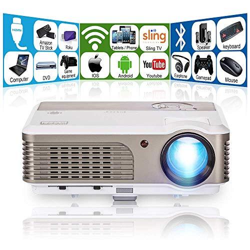プロジェクター 3300ルーメン ワイヤレス プロジェクター WiFi Bluetooth 1080PフルHD対応 ホームシアタープロジェクター パソコン/スマホ/タブレット/PS3/PS4/DVDプレイヤーなど接続可 天吊設置 スピーカー内蔵 Dolbyオーディオ対応