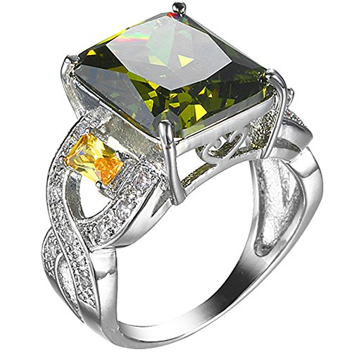 (XAHH Jewelry Mens Womens Fashion 925 Sterling Silver Plated Olive Green Cubic Zirconia CZ Large Ring 9)