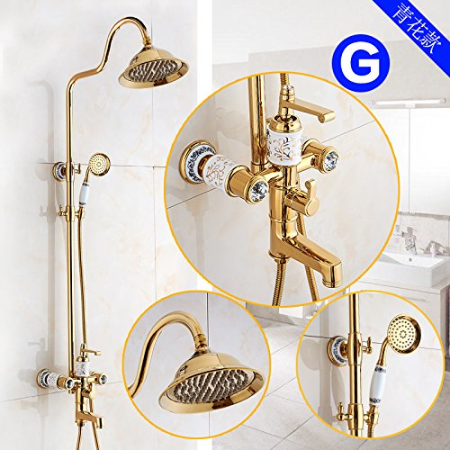 N GFEI gold Antique shower nozzle set   European style all copper bath, hot and cold shower faucet, American style gold-plated,M