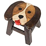 Puppy Dog Design Hand Carved Acacia Hardwood Decorative Short Stool