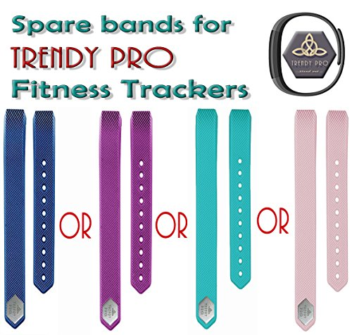 Because iCare Additional Spare Bands for Trendy PRO Fitness Tracker - Blue, Pink, Purple or Turquoise