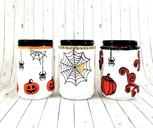 Shop DAYLE Farmhouse Style Mason Jar Decor with Halloween Rhinestone -