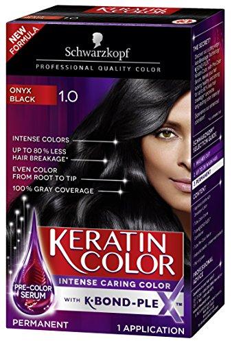 - Schwarzkopf Keratin Color Permanent Hair Color Cream, 1.0 Black Onyx (Packaging May Vary)