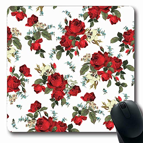 (Ahawoso Mousepad Oblong 7.9x9.8 Inches Floral Blue Abstract Pattern Red Roses On Rose Vintage Accent Bloom Blossom Design Nature Office Computer Laptop Notebook Mouse Pad,Non-Slip Rubber)
